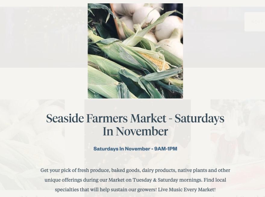 Seaside farmers market popup modal