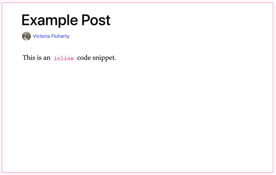 example of using inline code snippet displayed in preview mode