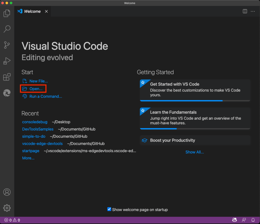 New instance of Visual Studio Code with Open Folder selected