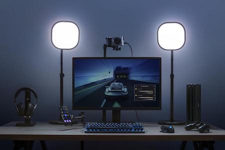 A streaming setup with Elgato Key Light<br>