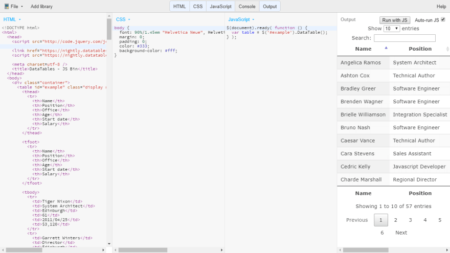 Ejemplo de código en JSBin