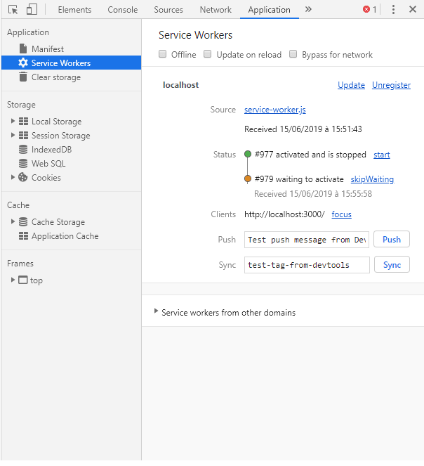 Image showing that the service worker is ready on the application panel of chrome