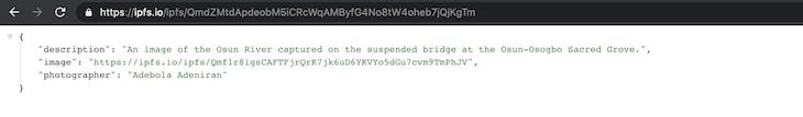 NFT Metadata JSON CID
