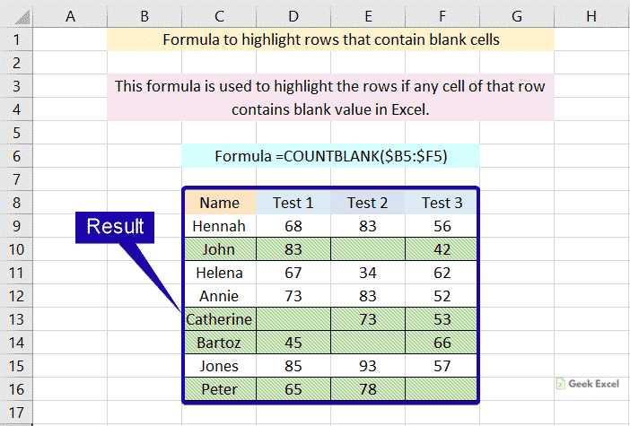 Highlight rows that contain blank cells