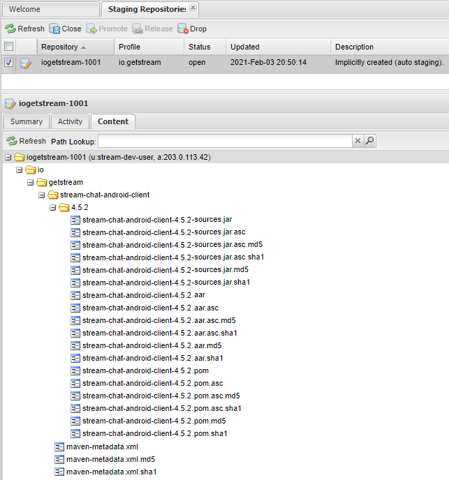 The contents of the staging repository