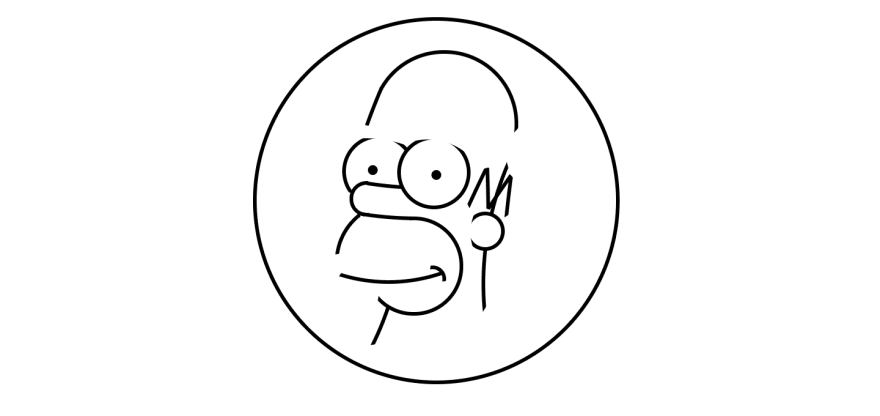 More complete Homer Simpson drawing using circles and lines