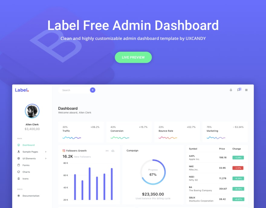 Label Free Bootstrap Admin Template