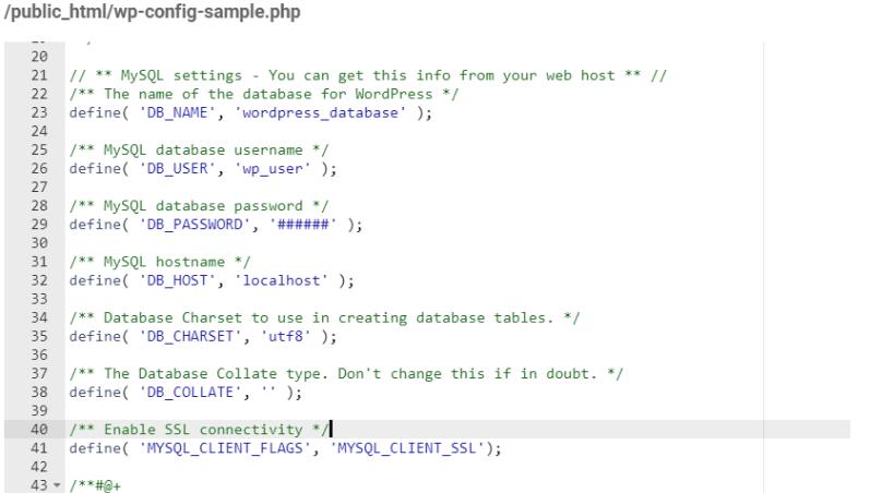 WordPress Configuration for SSL-Enabled MySQL Deployments - Edit wp-config File