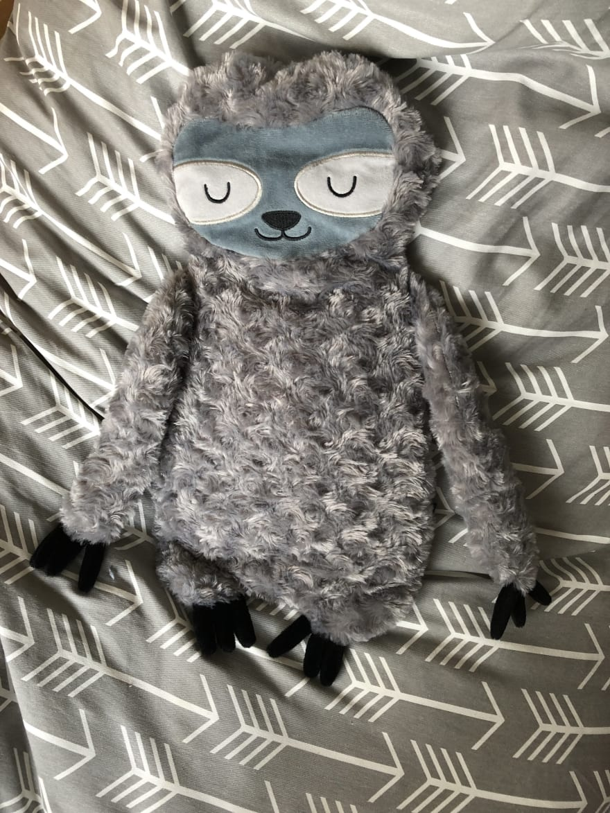 Sloth hot water bottle cover