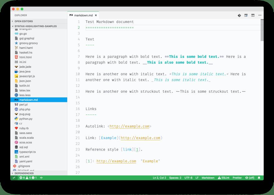 Screenshot of some Markdown sample code