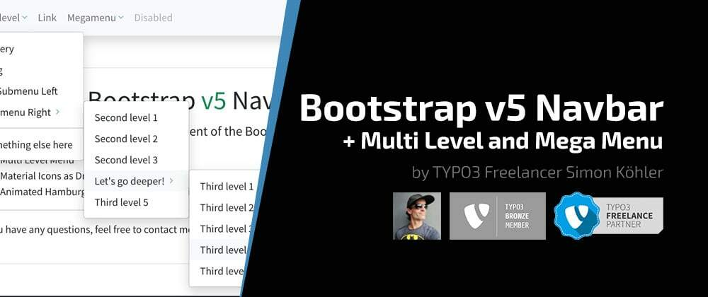 Cover image for UPDATED: Bootstrap v5.0.2 Navbar with Multi-Level and Mega Menu