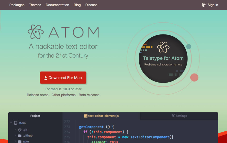 The Atom webpage.