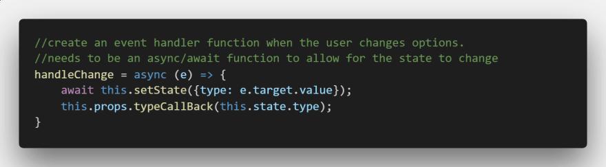 Type Selector Event Handler