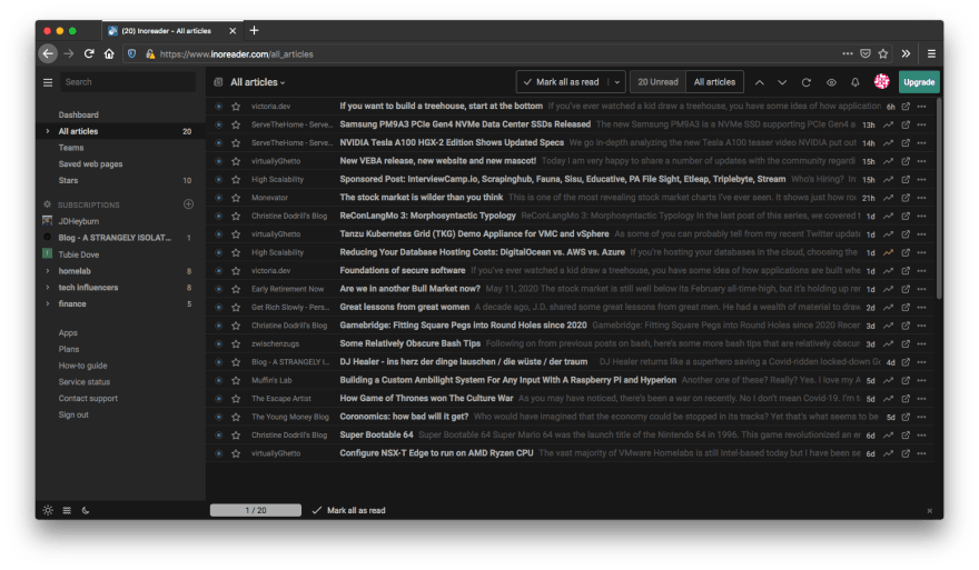 inoreader as an RSS feed aggregator