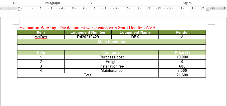 Excel to Word table