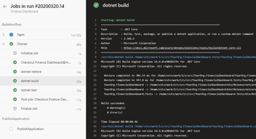 Build task output