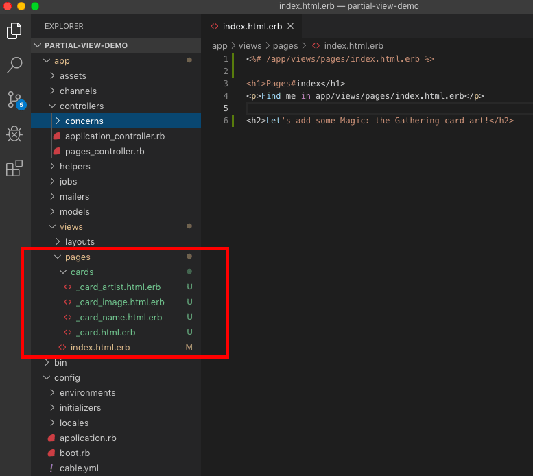 screenshot of vscode window with new partials in the cards directory highlighted
