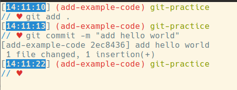 git add ., then git commit -m 'add hello world'