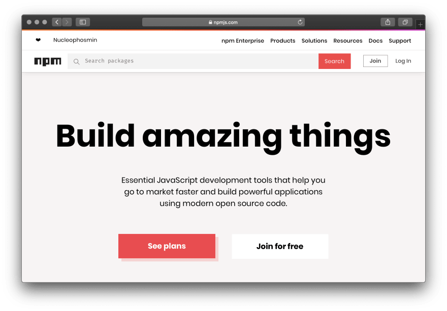 "npm website screenshot: ""build amazing things"""