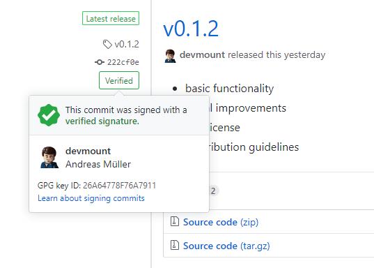 Verified release on GitHub