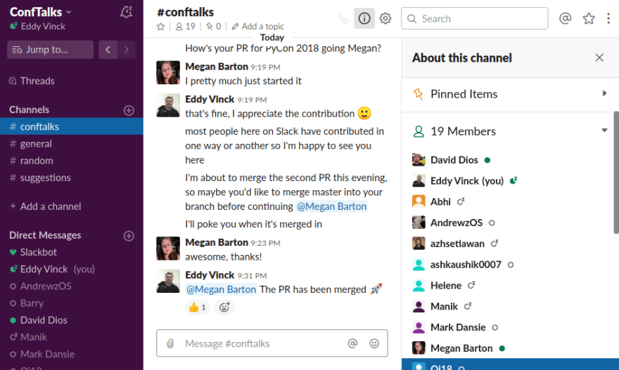 Our Slack group has 19 members and counting