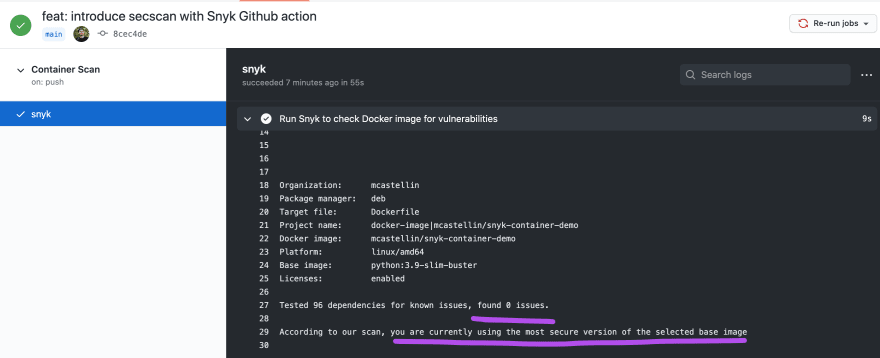 github action scan results