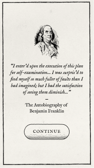 picture of ben franklin with a quote from his auto biography