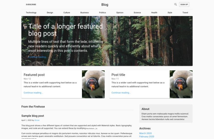 material ui blog template