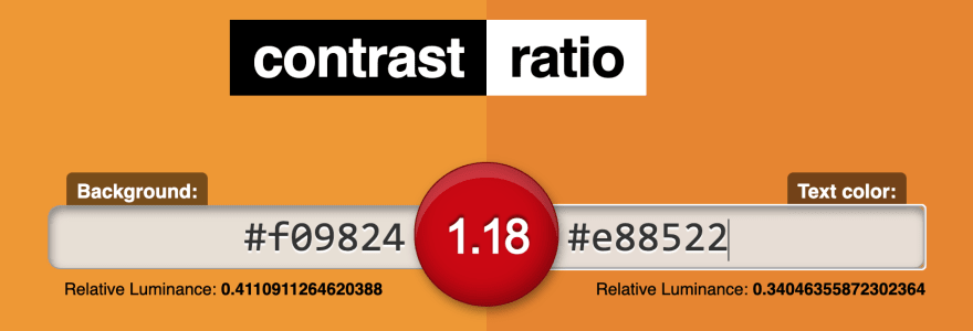 Contrast-ratio.com's user interface, showing luminance contrast between #f09824 and #e88522