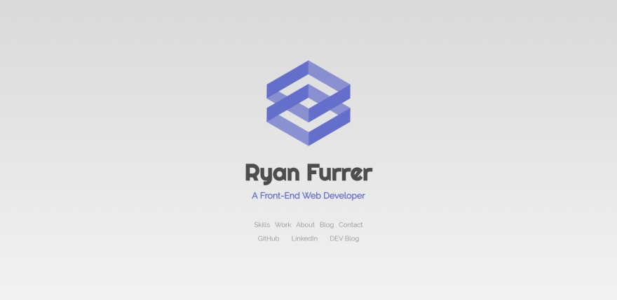 Homepage of ryanfurrer.dev with new logo