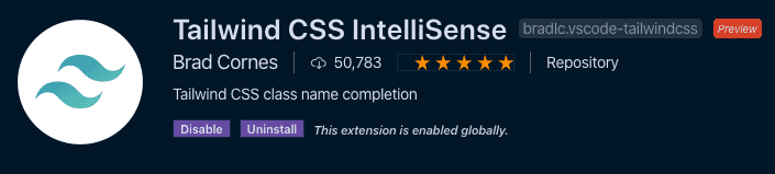 Tailwind CSS intelliSence in the visual studio code store