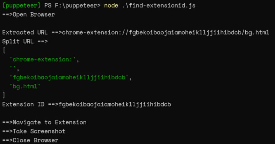 The console log output of extracting a chrome extension ID in puppeteer