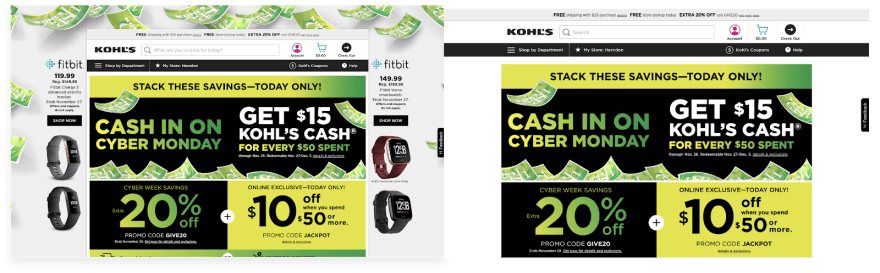 Screenshot of Kohl's homepage with and without Ad Blocker