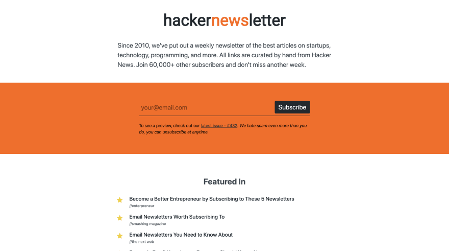 Hacker Newsletter Screenshot