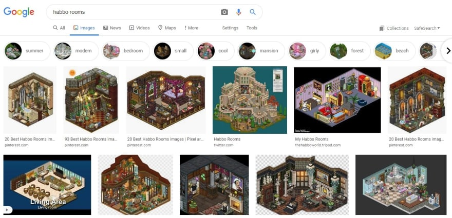 Different themes of Habbo Rooms after googling Habbo Rooms on Google