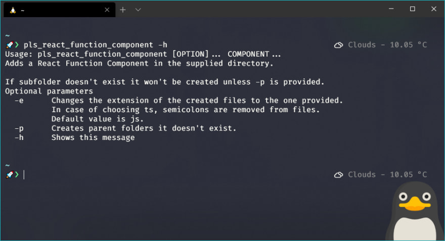 Example of the command pls_react_function_component being used on my console