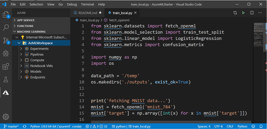 VS Code 中的Azure ML 工作區