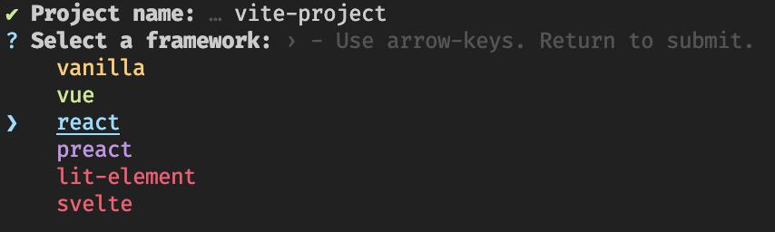 vite select framework