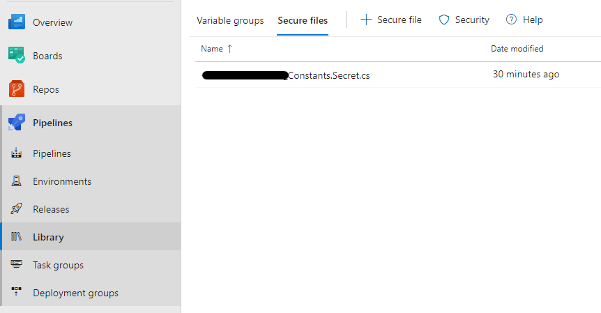 A screenshot of Azure DevOps