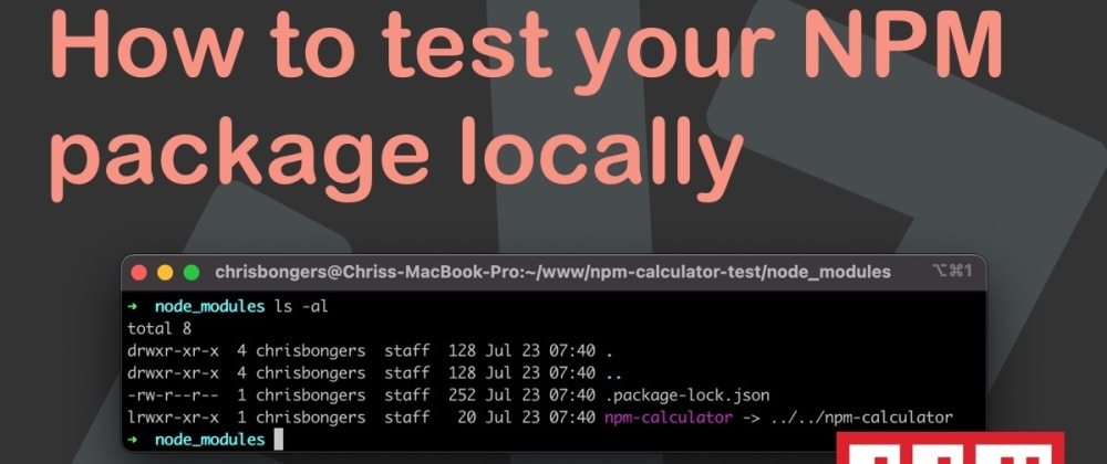 Cover image for How to test your NPM package locally