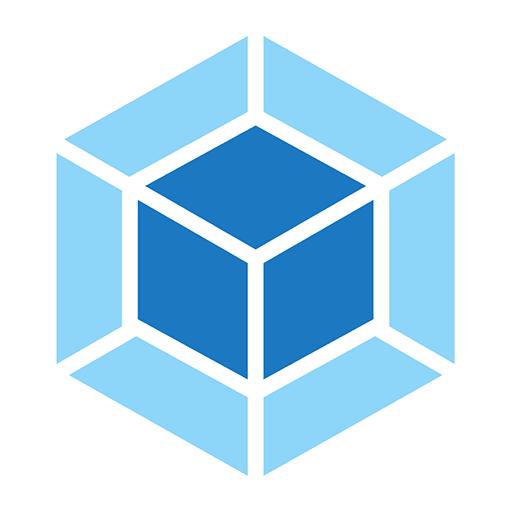 Webpack logo. A dark blue and light blue diamond shape.