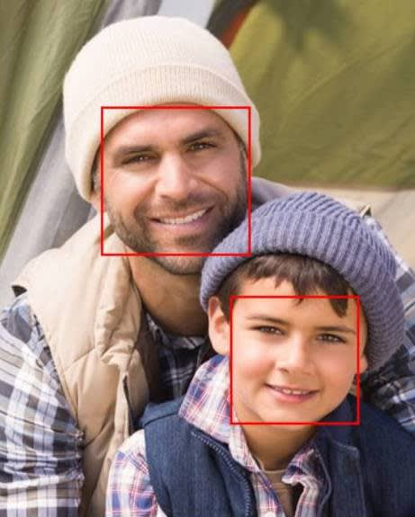 father and son face rectangle image