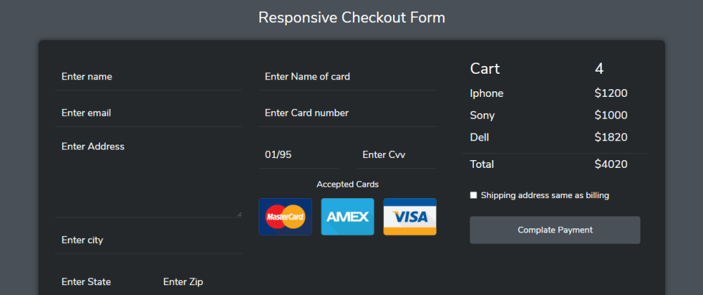 Cover image for Responsive Checkout Form In Bootstrap 4