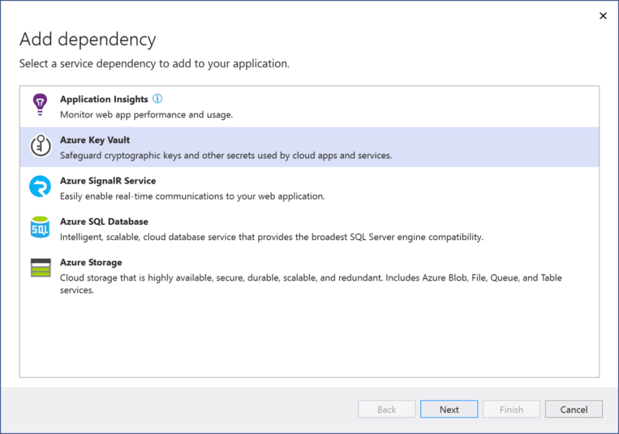 Select Azure Key Vault from list of dependencies
