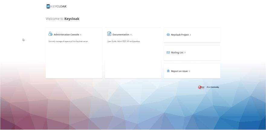 Default Keycloak page