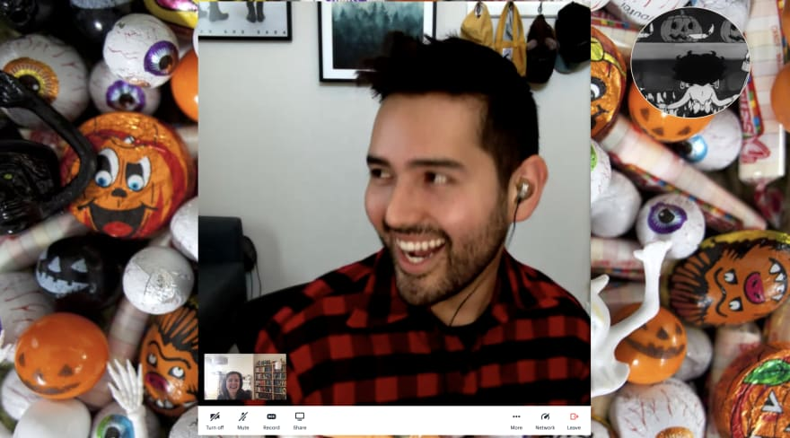 Colleagues on video chat call with candy in the background