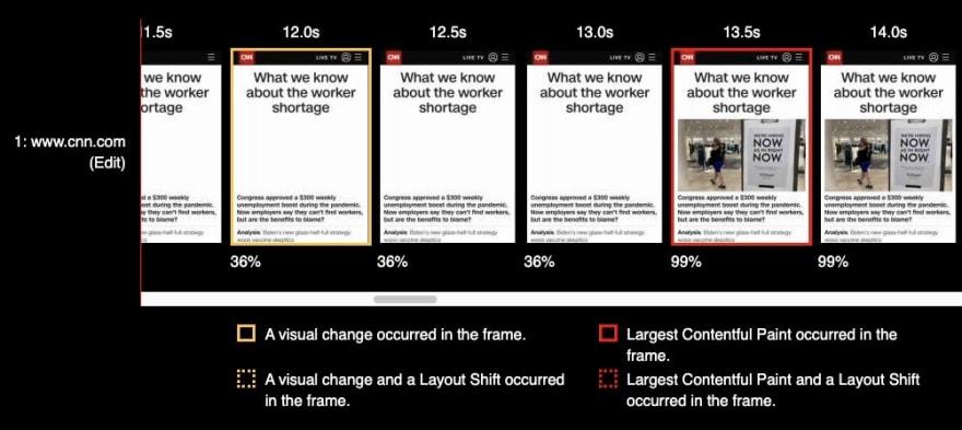 WebPageTest Filmstrip showing LCP Element