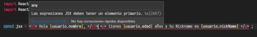 VSCODE error en JSX