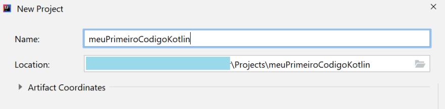 Tela mostrando onde digitar o nome do seu projeto