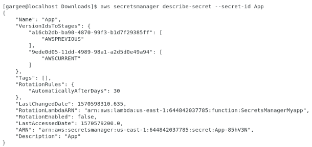 Check configurations in secret manager